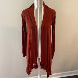 Forever 21 rust colored fringed open cardigan